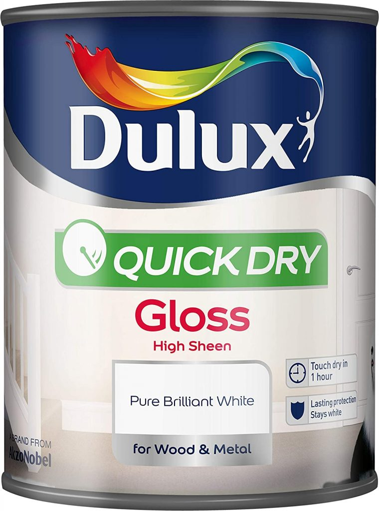 dulux quick dry white gloss paint